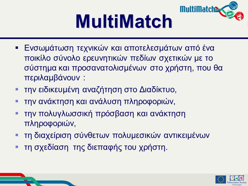 MultiMatch  Ενσωμάτωση τεχνικών και αποτελεσμάτων από ένα ποικίλο σύνολο ερευνητικών πεδίων σχετικών με το σύστημα και προσανατολισμένων στο χρήστη, που θα περιλαμβάνουν :  την ειδικευμένη αναζήτηση στο Διαδίκτυο,  την ανάκτηση και ανάλυση πληροφοριών,  την πολυγλωσσική πρόσβαση και ανάκτηση πληροφοριών,  τη διαχείριση σύνθετων πολυμεσικών αντικειμένων  τη σχεδίαση της διεπαφής του χρήστη.