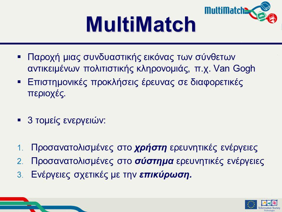 MultiMatch  Παροχή μιας συνδυαστικής εικόνας των σύνθετων αντικειμένων πολιτιστικής κληρονομιάς, π.χ.