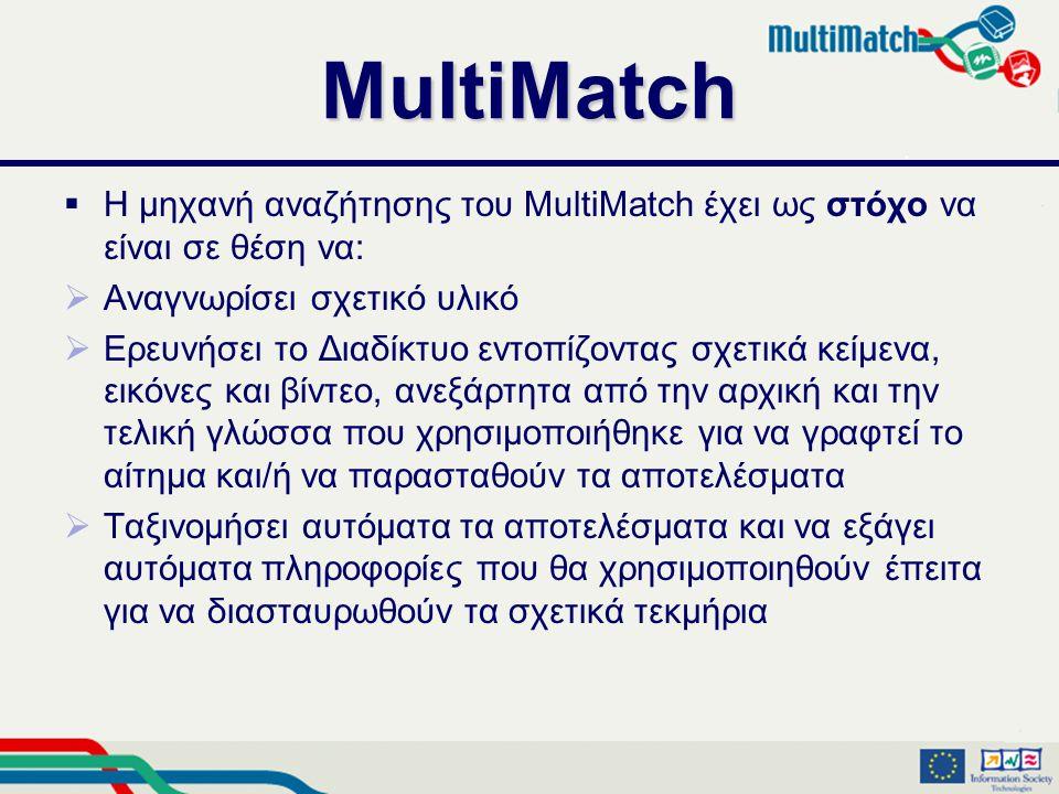 MultiMatch  Η μηχανή αναζήτησης του MultiMatch έχει ως στόχο να είναι σε θέση να:  Αναγνωρίσει σχετικό υλικό  Ερευνήσει το Διαδίκτυο εντοπίζοντας σχετικά κείμενα, εικόνες και βίντεο, ανεξάρτητα από την αρχική και την τελική γλώσσα που χρησιμοποιήθηκε για να γραφτεί το αίτημα και/ή να παρασταθούν τα αποτελέσματα  Ταξινομήσει αυτόματα τα αποτελέσματα και να εξάγει αυτόματα πληροφορίες που θα χρησιμοποιηθούν έπειτα για να διασταυρωθούν τα σχετικά τεκμήρια