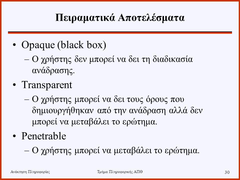 Ανάκτηση ΠληροφορίαςΤμήμα Πληροφορικής ΑΠΘ 30 Πειραματικά Αποτελέσματα •Opaque (black box) –Ο χρήστης δεν μπορεί να δει τη διαδικασία ανάδρασης. •Tran