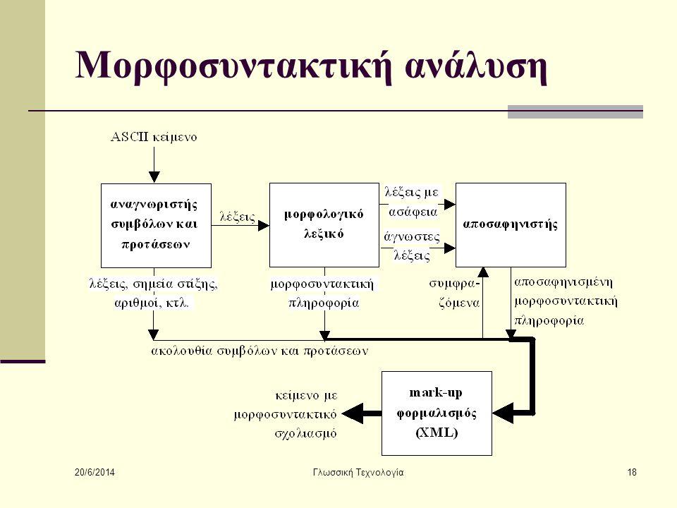 20/6/2014 Γλωσσική Τεχνολογία18 Μορφοσυντακτική ανάλυση