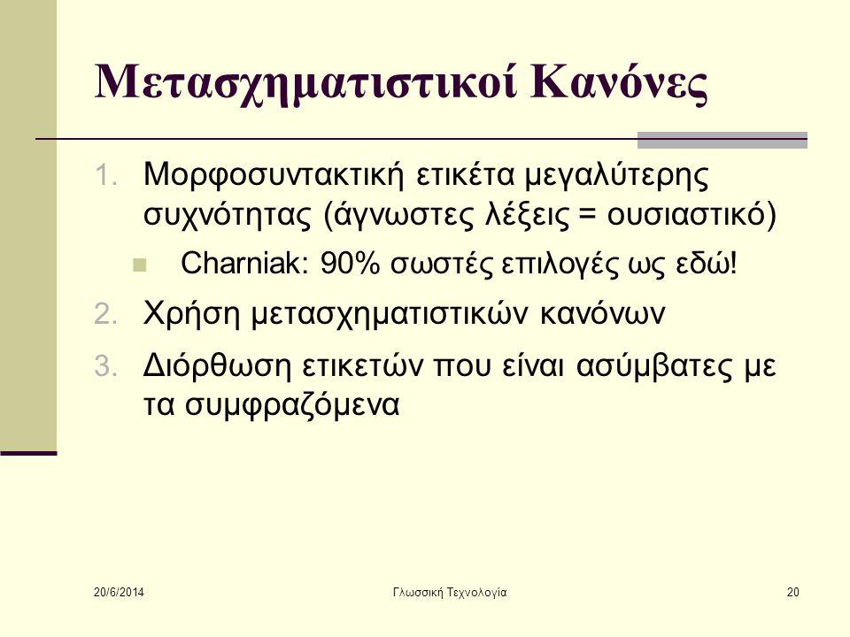20/6/2014 Γλωσσική Τεχνολογία20 Μετασχηματιστικοί Κανόνες 1.
