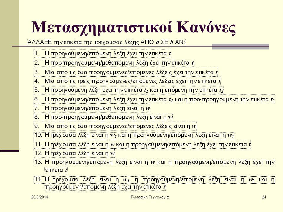 20/6/2014 Γλωσσική Τεχνολογία24 Μετασχηματιστικοί Κανόνες