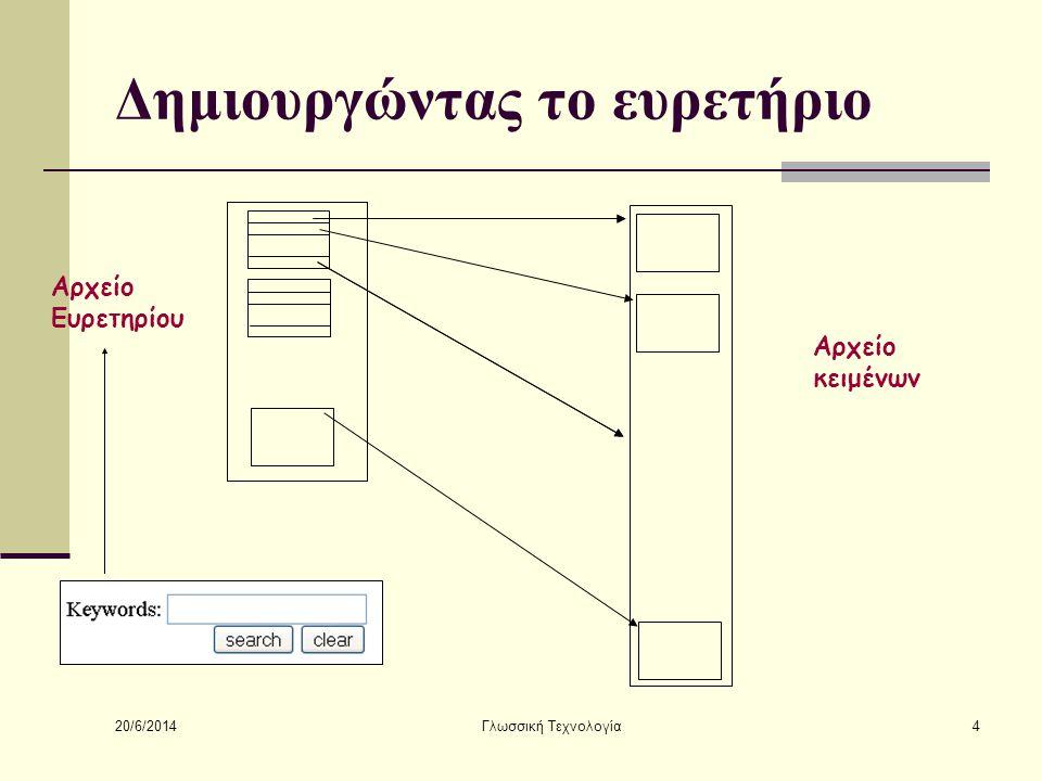20/6/2014 Γλωσσική Τεχνολογία4 Δημιουργώντας το ευρετήριο Αρχείο Ευρετηρίου Αρχείο κειμένων