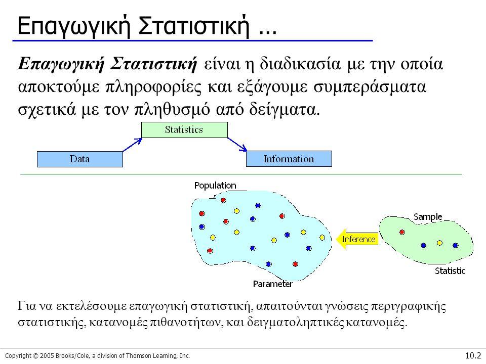 Copyright © 2005 Brooks/Cole, a division of Thomson Learning, Inc. 10.2 Επαγωγική Στατιστική … Επαγωγική Στατιστική είναι η διαδικασία με την οποία απ