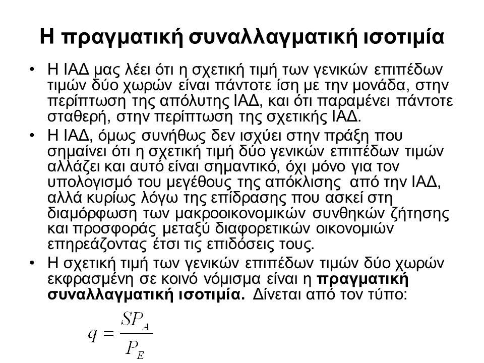 Η πραγματική συναλλαγματική ισοτιμία •Η ΙΑΔ μας λέει ότι η σχετική τιμή των γενικών επιπέδων τιμών δύο χωρών είναι πάντοτε ίση με την μονάδα, στην περ