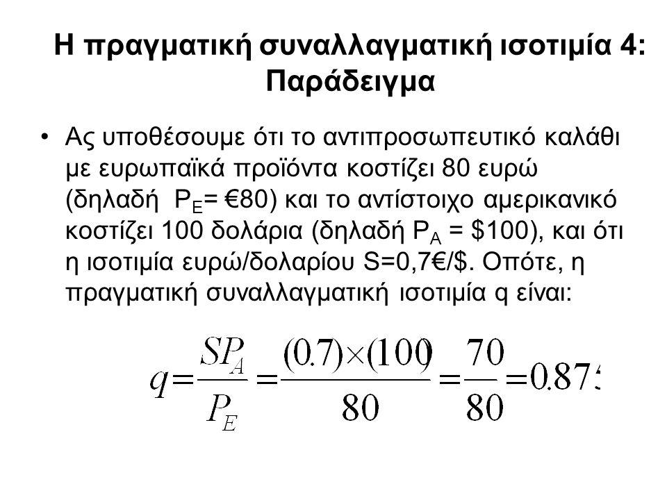 Η πραγματική συναλλαγματική ισοτιμία 4: Παράδειγμα •Ας υποθέσουμε ότι το αντιπροσωπευτικό καλάθι με ευρωπαϊκά προϊόντα κοστίζει 80 ευρώ (δηλαδή P E =