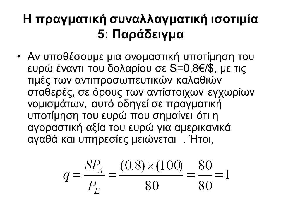 Η πραγματική συναλλαγματική ισοτιμία 5: Παράδειγμα •Αν υποθέσουμε μια ονομαστική υποτίμηση του ευρώ έναντι του δολαρίου σε S=0,8€/$, με τις τιμές των