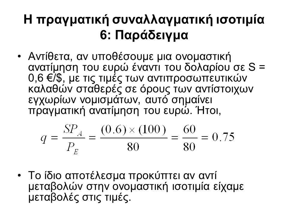 Η πραγματική συναλλαγματική ισοτιμία 6: Παράδειγμα •Αντίθετα, αν υποθέσουμε μια ονομαστική ανατίμηση του ευρώ έναντι του δολαρίου σε S = 0,6 €/$, με τ