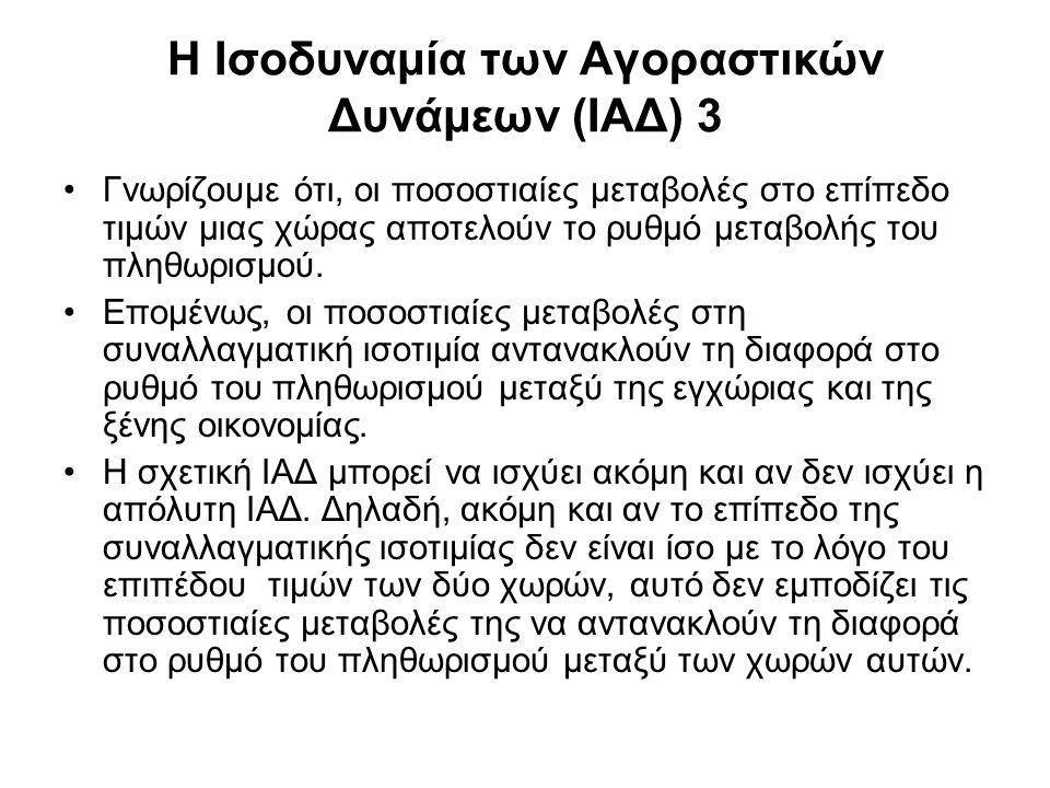 Αποκλίσεις από την ΙΑΔ •Είναι η ΙΑΔ αξιόπιστος οδηγός της συμπεριφοράς της συναλλαγματικής ισοτιμίας; Μάλλον όχι.