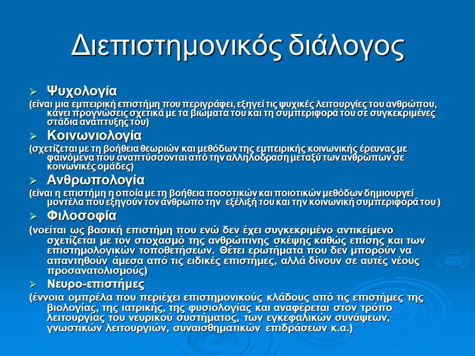 Διεπιστημονικός διάλογος  Ψυχολογία (είναι μια εμπειρική επιστήμη που περιγράφει, εξηγεί τις ψυχικές λειτουργίες του ανθρώπου, κάνει προγνώσεις σχετικά με τα βιώματα του και τη συμπεριφορά του σε συγκεκριμένες στάδια ανάπτυξης του)  Κοινωνιολογία (σχετίζεται με τη βοήθεια θεωριών και μεθόδων της εμπειρικής κοινωνικής έρευνας με φαινόμενα που αναπτύσσονται από την αλληλοδραση μεταξύ των ανθρώπων σε κοινωνικές ομάδες)  Ανθρωπολογία (είναι η επιστήμη η οποία με τη βοήθεια ποσοτικών και ποιοτικών μεθόδων δημιουργεί μοντέλα που εξηγούν τον άνθρωπο την εξέλιξή του και την κοινωνική συμπεριφορά του )  Φιλοσοφία (νοείται ως βασική επιστήμη που ενώ δεν έχει συγκεκριμένο αντικείμενο σχετίζεται με τον στοχασμό της ανθρώπινης σκέψης καθώς επίσης και των επιστημολογικών τοποθετήσεων.
