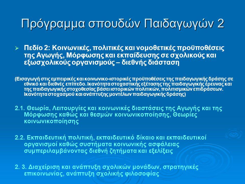 Πρόγραμμα σπουδών Παιδαγωγών 2   Πεδίο 2: Κοινωνικές, πολιτικές και νομοθετικές προϋποθέσεις της Αγωγής, Μόρφωσης και εκπαίδευσης σε σχολικούς και εξωσχολικούς οργανισμούς – διεθνής διάσταση (Εισαγωγή στις εμπειρικές και κοινωνικο-ιστορικές προϋποθέσεις της παιδαγωγικής δράσης σε εθνικό και διεθνές επίπεδο.