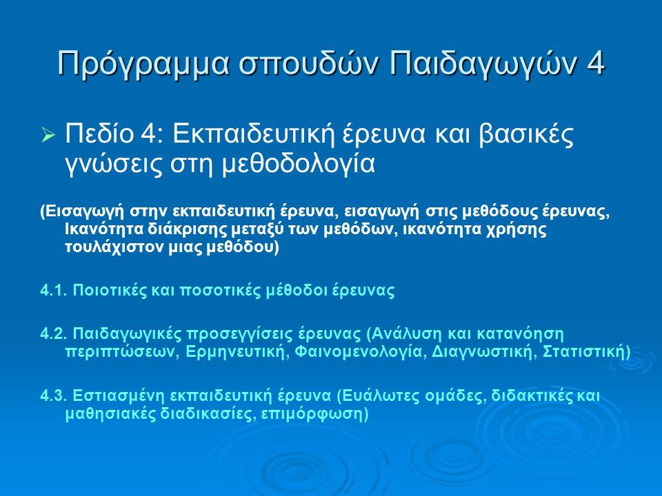 Πρόγραμμα σπουδών Παιδαγωγών 4   Πεδίο 4: Εκπαιδευτική έρευνα και βασικές γνώσεις στη μεθοδολογία (Εισαγωγή στην εκπαιδευτική έρευνα, εισαγωγή στις