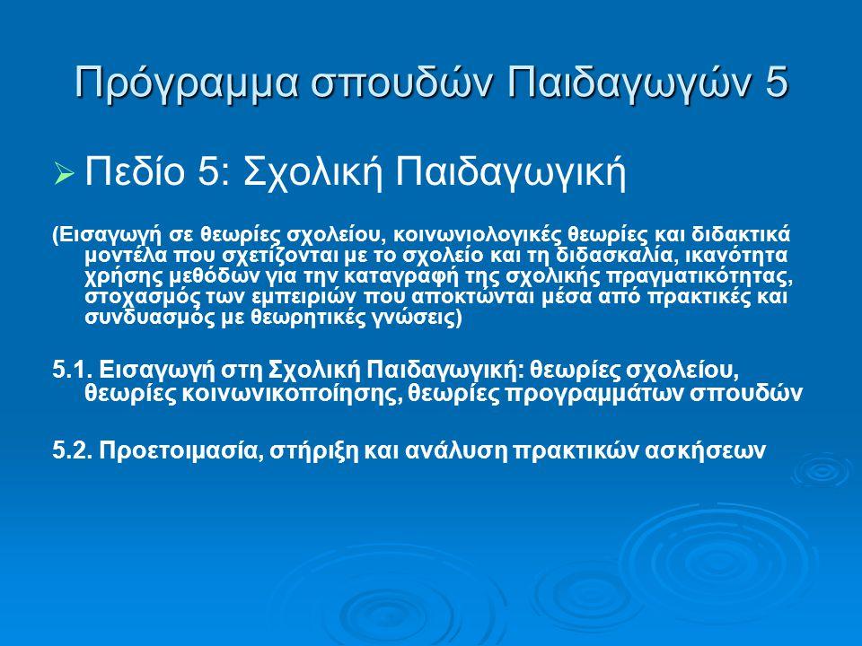 Πρόγραμμα σπουδών Παιδαγωγών 5   Πεδίο 5: Σχολική Παιδαγωγική (Εισαγωγή σε θεωρίες σχολείου, κοινωνιολογικές θεωρίες και διδακτικά μοντέλα που σχετί