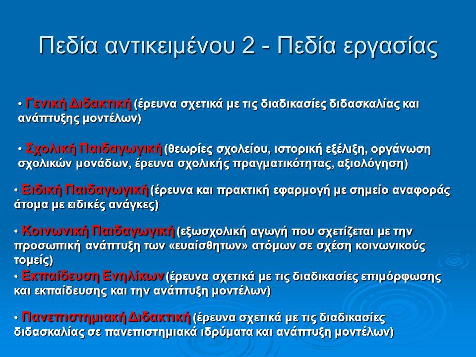 Πρόγραμμα σπουδών Παιδαγωγών 6   Πεδίο 6: Εισαγωγή σε επιμέρους Κλάδους της Παιδαγωγικής Επιστήμης (Συνδυασμός βασικών γνώσεων και δεξιοτήτων σε σχέση με επιμέρους Κλάδους, Εισαγωγή σε επιμέρους Κλάδους της Παιδαγωγικής Επιστήμης.