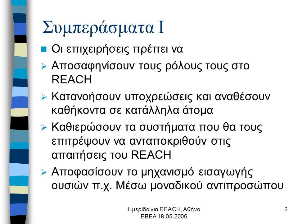 Ημερίδα για REACH, Αθήνα ΕΒΕΑ 18.05.2006 2 Συμπεράσματα Ι  Οι επιχειρήσεις πρέπει να  Αποσαφηνίσουν τους ρόλους τους στο REACH  Κατανοήσουν υποχρεώσεις και αναθέσουν καθήκοντα σε κατάλληλα άτομα  Καθιερώσουν τα συστήματα που θα τους επιτρέψουν να ανταποκριθούν στις απαιτήσεις του REACH  Αποφασίσουν το μηχανισμό εισαγωγής ουσιών π.χ.