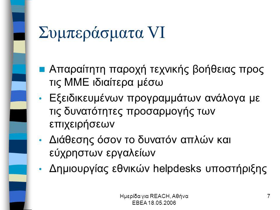 Ημερίδα για REACH, Αθήνα ΕΒΕΑ 18.05.2006 7 Συμπεράσματα VΙ  Απαραίτητη παροχή τεχνικής βοήθειας προς τις ΜΜΕ ιδιαίτερα μέσω • Εξειδικευμένων προγραμμάτων ανάλογα με τις δυνατότητες προσαρμογής των επιχειρήσεων • Διάθεσης όσον το δυνατόν απλών και εύχρηστων εργαλείων • Δημιουργίας εθνικών helpdesks υποστήριξης