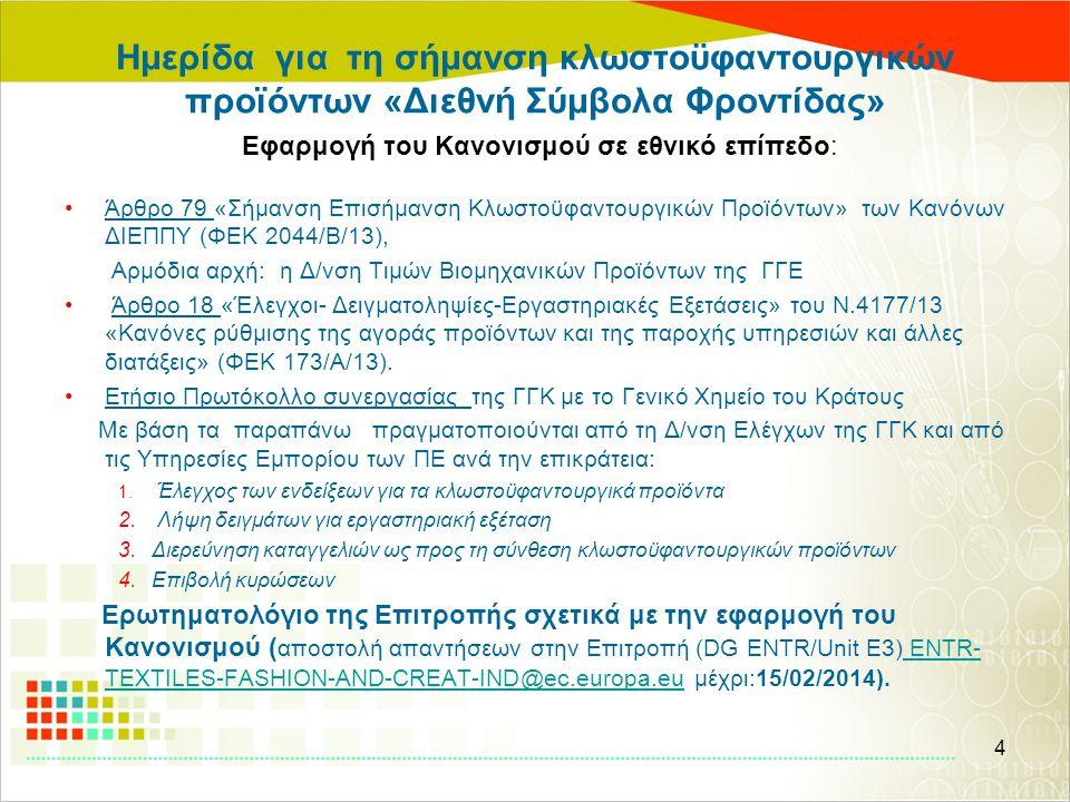 Ημερίδα για τη σήμανση κλωστοϋφαντουργικών προϊόντων «Διεθνή Σύμβολα Φροντίδας» Εφαρμογή του Κανονισμού σε εθνικό επίπεδο: •Άρθρο 79 «Σήμανση Επισήμαν