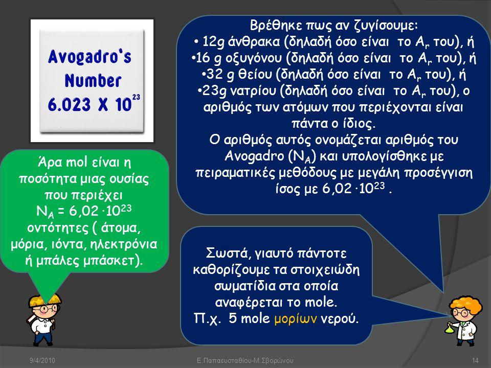 9/4/2010Ε.Παπαευσταθίου-Μ.Σβορώνου14 Βρέθηκε πως αν ζυγίσουμε: • 12g άνθρακα (δηλαδή όσο είναι το A r του), ή • 16 g οξυγόνου (δηλαδή όσο είναι το A r