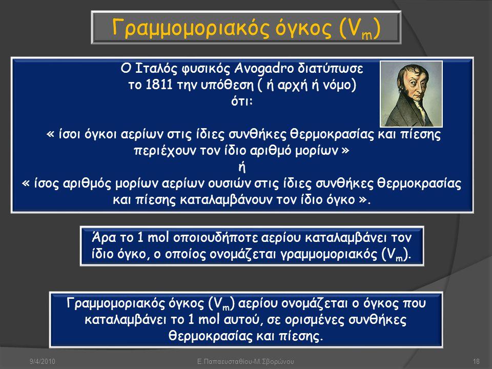 9/4/2010Ε.Παπαευσταθίου-Μ.Σβορώνου18 Γραμμομοριακός όγκος (V m ) Ο Ιταλός φυσικός Avogadro διατύπωσε το 1811 την υπόθεση ( ή αρχή ή νόμο) ότι: « ίσοι