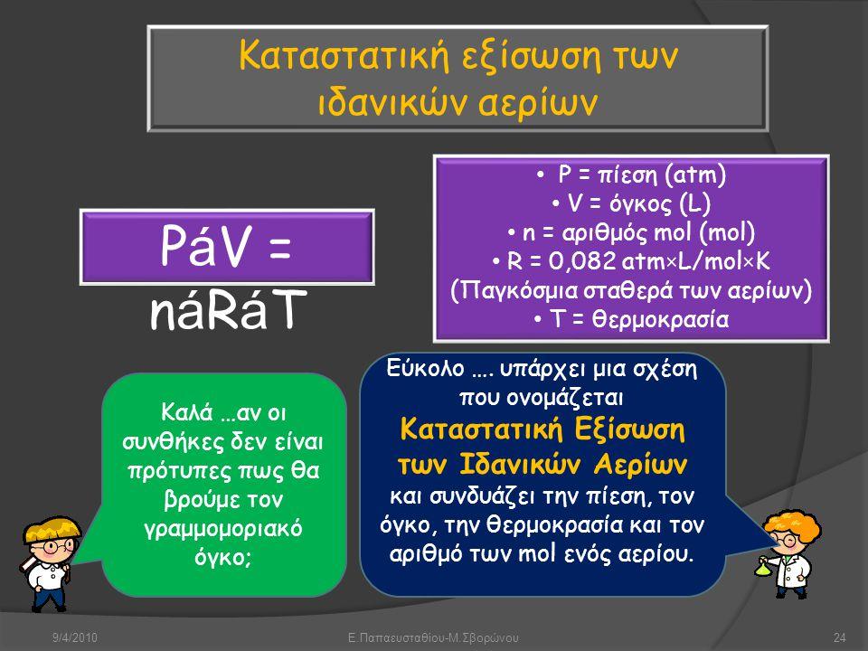 9/4/2010Ε.Παπαευσταθίου-Μ.Σβορώνου24 Καλά …αν οι συνθήκες δεν είναι πρότυπες πως θα βρούμε τον γραμμομοριακό όγκο; Εύκολο …. υπάρχει μια σχέση που ονο