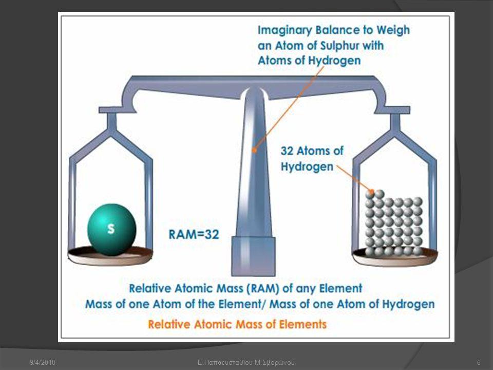 9/4/2010Ε.Παπαευσταθίου-Μ.Σβορώνου7 amu Είναι προφανές πως επειδή η μάζα του ατόμου οποιουδήποτε στοιχείου είναι το άθροισμα των μαζών των πρωτονίων και των νετρονίων η σχετική ατομική μάζα θα έπρεπε να συμπίπτει με τον μαζικό αριθμό.