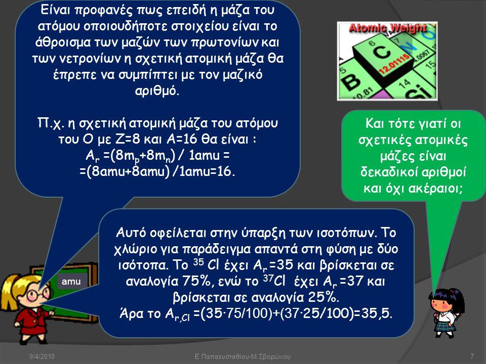 9/4/2010Ε.Παπαευσταθίου-Μ.Σβορώνου7 amu Είναι προφανές πως επειδή η μάζα του ατόμου οποιουδήποτε στοιχείου είναι το άθροισμα των μαζών των πρωτονίων κ