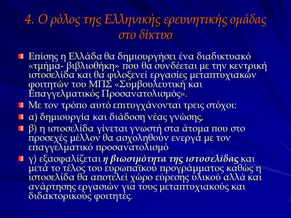 4. Ο ρόλος της Ελληνικής ερευνητικής ομάδας στο δίκτυο Επίσης η Ελλάδα θα δημιουργήσει ένα διαδικτυακό «τμήμα- βιβλιοθήκη» που θα συνδέεται με την κεν