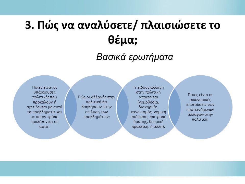 3. Πώς να αναλύσετε/ πλαισιώσετε το θέμα; Ποιες είναι οι υπάρχουσες πολιτικές που προκαλούν ή σχετίζονται με αυτά τα προβλήματα και με ποιον τρόπο εμπ