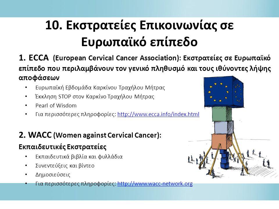 10. Εκστρατείες Επικοινωνίας σε Ευρωπαϊκό επίπεδο 1. ECCA (European Cervical Cancer Association): Εκστρατείες σε Ευρωπαϊκό επίπεδο που περιλαμβάνουν τ