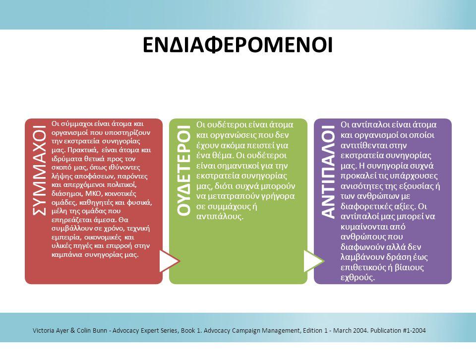 ΕΝΔΙΑΦΕΡΟΜΕΝΟΙ Victoria Ayer & Colin Bunn - Advocacy Expert Series, Book 1. Advocacy Campaign Management, Edition 1 - March 2004. Publication #1-2004
