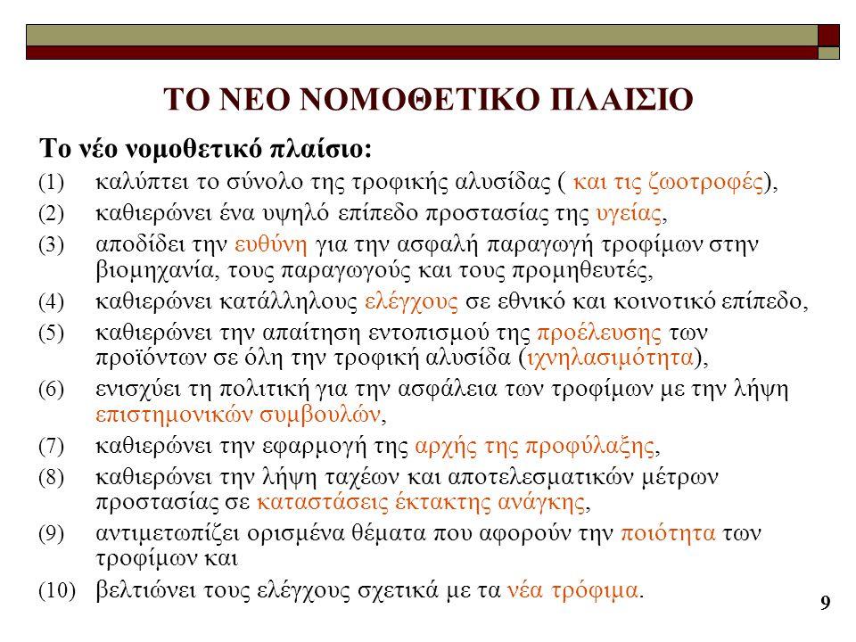 9 ΤΟ ΝΕΟ ΝΟΜΟΘΕΤΙΚΟ ΠΛΑΙΣΙΟ Το νέο νομοθετικό πλαίσιο: (1) καλύπτει το σύνολο της τροφικής αλυσίδας ( και τις ζωοτροφές), (2) καθιερώνει ένα υψηλό επί