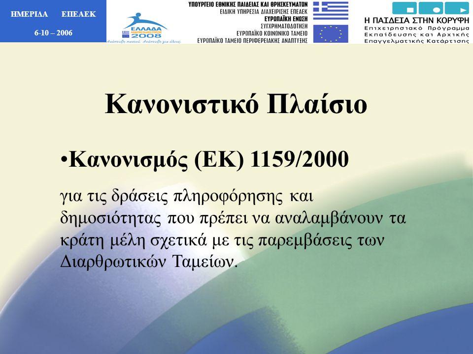 ΗΜΕΡΙΔΑ ΕΠΕΑΕΚ 6-10 – 2006 • Αναμνηστικές Πλάκες Περιλαμβάνουν: 1) Το πλήρες λογότυπο του ΕΠΕΑΕΚ 2) Αναφορά – μνεία της συγχρηματοδότησης της Ε.Ε.