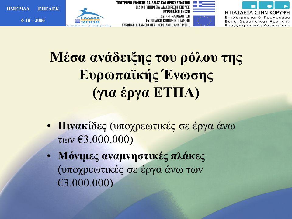 ΗΜΕΡΙΔΑ ΕΠΕΑΕΚ 6-10 – 2006 •Ανάρτηση Πινακίδων (έργα ΕΤΠΑ) Θα πρέπει το 25% τουλάχιστον της συνολικής επιφάνειας της πινακίδας να είναι αφιερωμένο στην προβολή – μνεία, με συγκεκριμένη αναφορά, της «χρηματοδοτικής συμμετοχής της Ευρωπαϊκής Ένωσης» και ενδεχομένως και του συμμετέχοντος ταμείου (ΕΤΠΑ).