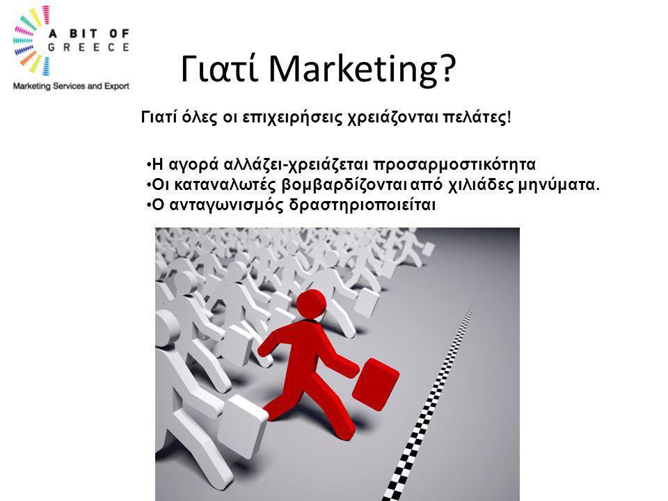 Γιατί Marketing? Γιατί όλες οι επιχειρήσεις χρειάζονται πελάτες! •Η αγορά αλλάζει-χρειάζεται προσαρμοστικότητα •Οι καταναλωτές βομβαρδίζονται από χιλι