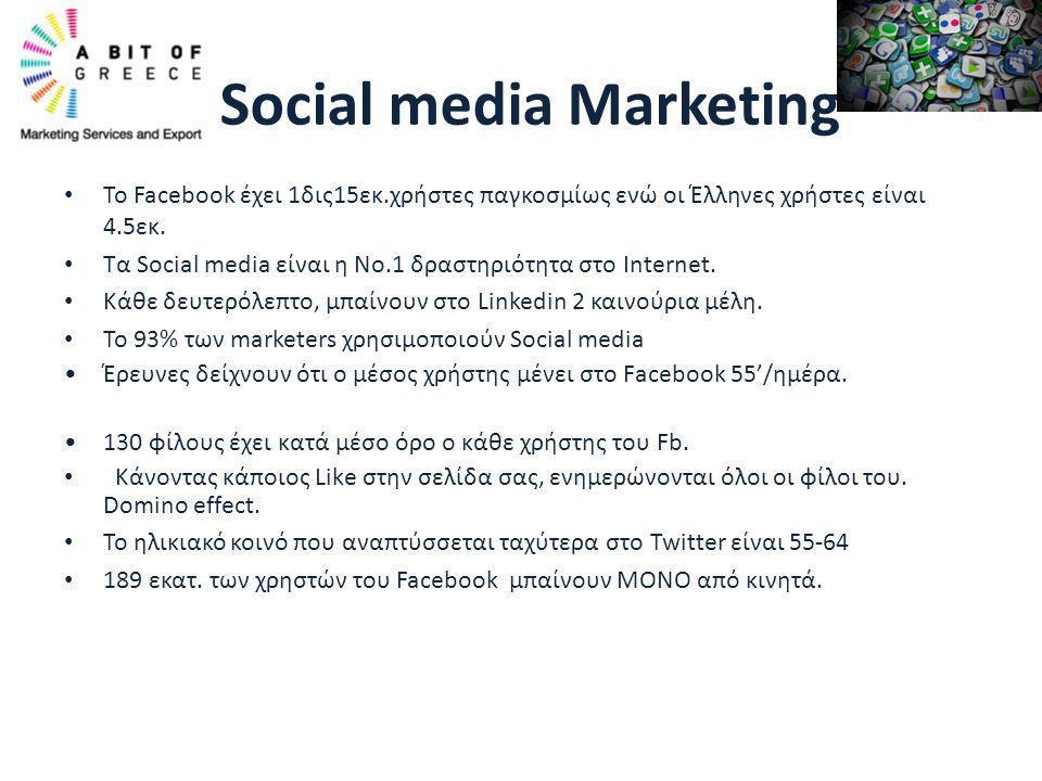 • Το Facebook έχει 1δις15εκ.χρήστες παγκοσμίως ενώ οι Έλληνες χρήστες είναι 4.5εκ. • Τα Social media είναι η Νο.1 δραστηριότητα στο Internet. • Κάθε δ