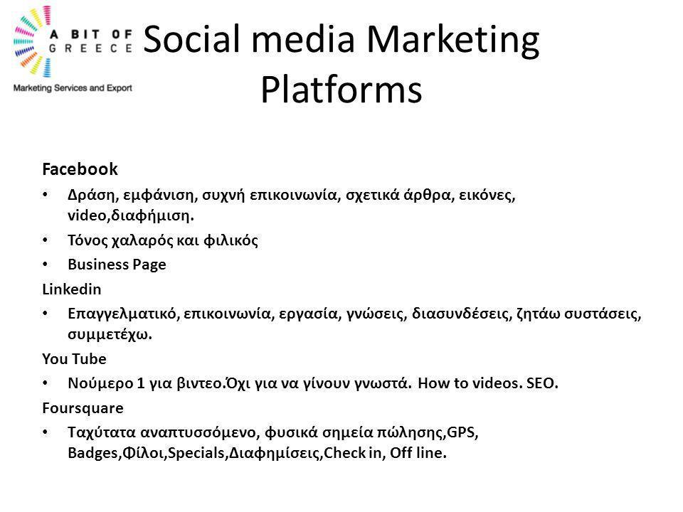 Facebook • Δράση, εμφάνιση, συχνή επικοινωνία, σχετικά άρθρα, εικόνες, video,διαφήμιση. • Τόνος χαλαρός και φιλικός • Business Page Linkedin • Επαγγελ