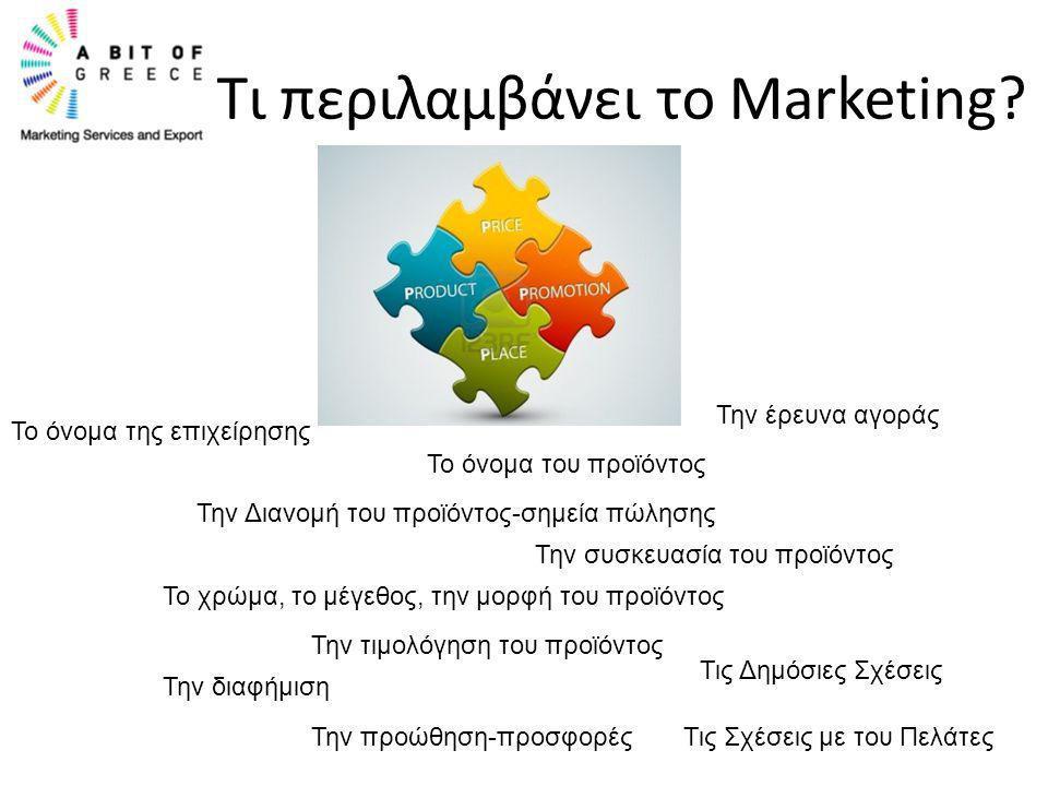 Τι περιλαμβάνει το Marketing? Το όνομα της επιχείρησης Το όνομα του προϊόντος Την Διανομή του προϊόντος-σημεία πώλησης Την συσκευασία του προϊόντος Το