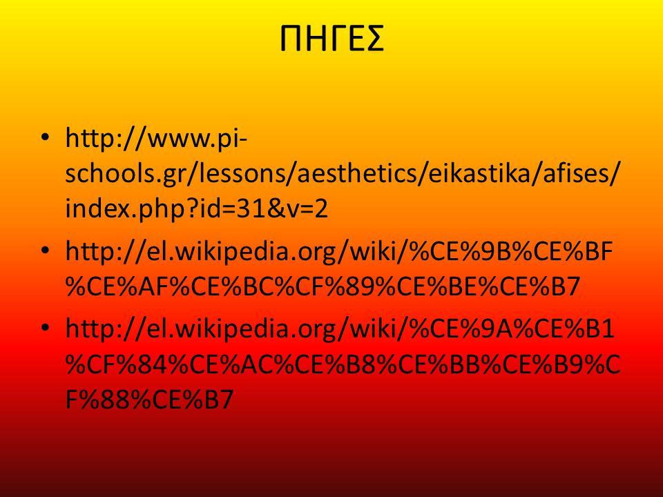 ΠΗΓΕΣ • http://www.pi- schools.gr/lessons/aesthetics/eikastika/afises/ index.php?id=31&v=2 • http://el.wikipedia.org/wiki/%CE%9B%CE%BF %CE%AF%CE%BC%CF
