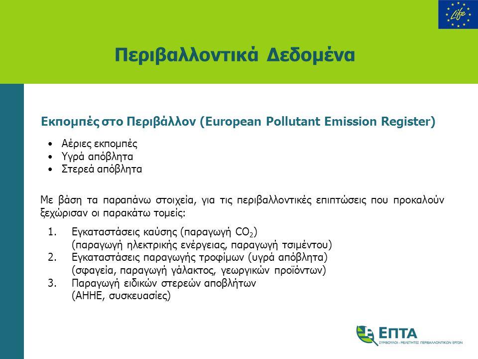 Περιβαλλοντικά Δεδομένα Εκπομπές στο Περιβάλλον (European Pollutant Emission Register) •Αέριες εκπομπές •Υγρά απόβλητα •Στερεά απόβλητα Με βάση τα παρ