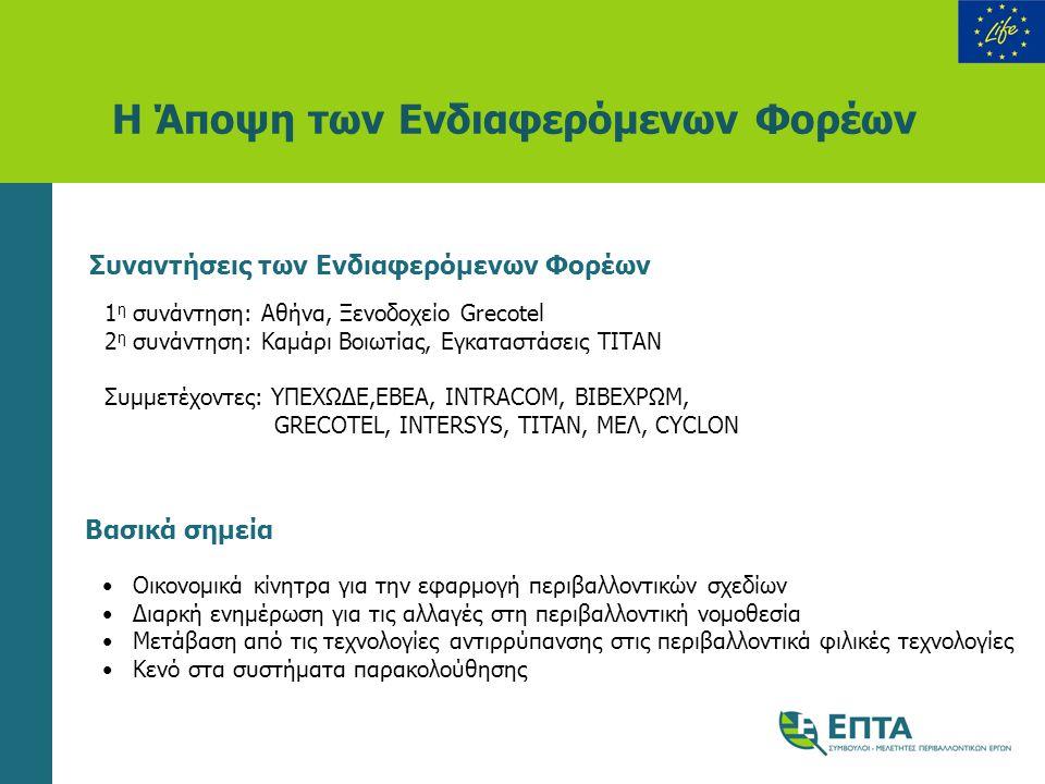 Η Άποψη των Ενδιαφερόμενων Φορέων Συναντήσεις των Ενδιαφερόμενων Φορέων 1 η συνάντηση: Αθήνα, Ξενοδοχείο Grecotel 2 η συνάντηση: Καμάρι Βοιωτίας, Εγκα
