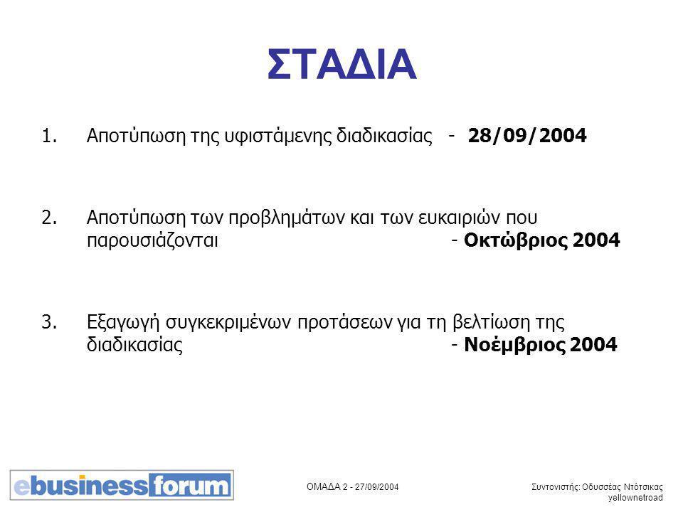 ΟΜΑΔΑ 2 - 27/09/2004 Συντονιστής: Οδυσσέας Ντότσικας yellownetroad ΣΤΑΔΙΑ 1.Αποτύπωση της υφιστάμενης διαδικασίας - 28/09/2004 2. Αποτύπωση των προβλη