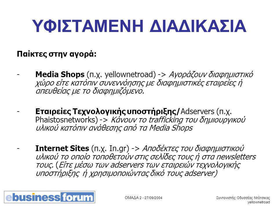 ΟΜΑΔΑ 2 - 27/09/2004 Συντονιστής: Οδυσσέας Ντότσικας yellownetroad ΥΦΙΣΤΑΜΕΝΗ ΔΙΑΔΙΚΑΣΙΑ Παίκτες στην αγορά: -Media Shops (π.χ. yellownetroad) -> Αγορ