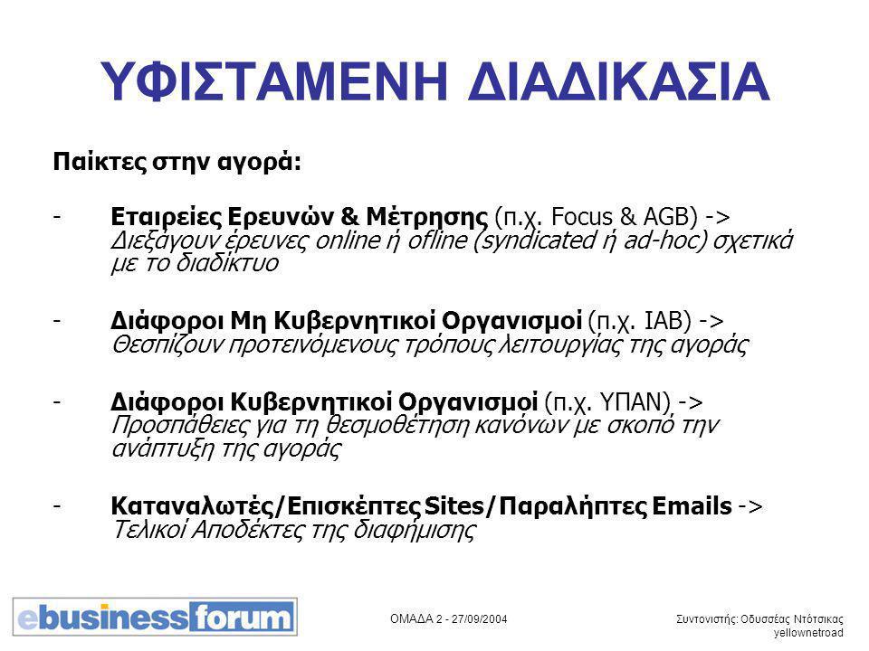 ΟΜΑΔΑ 2 - 27/09/2004 Συντονιστής: Οδυσσέας Ντότσικας yellownetroad ΥΦΙΣΤΑΜΕΝΗ ΔΙΑΔΙΚΑΣΙΑ Παίκτες στην αγορά: -Εταιρείες Ερευνών & Μέτρησης (π.χ. Focus