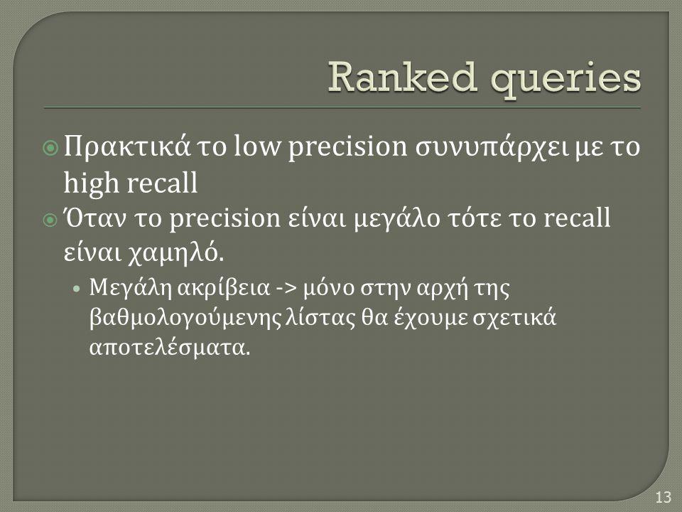  Πρακτικά το low precision συνυπάρχει με το high recall  Όταν το precision είναι μεγάλο τότε το recall είναι χαμηλό. • Μεγάλη ακρίβεια -> μόνο στην