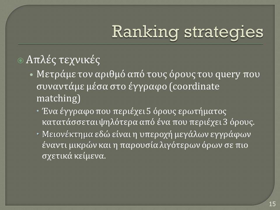  Απλές τεχνικές • Μετράμε τον αριθμό από τους όρους του query που συναντάμε μέσα στο έγγραφο (coordinate matching)  Ένα έγγραφο που περιέχει 5 όρους ερωτήματος κατατάσσεται ψηλότερα από ένα που περιέχει 3 όρους.