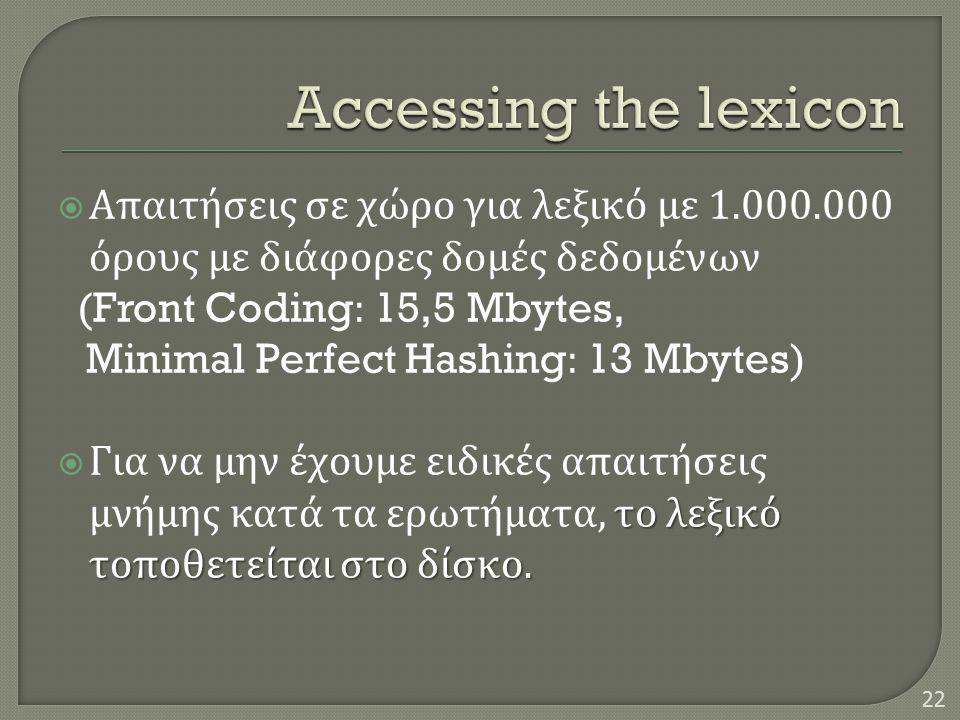  Απαιτήσεις σε χώρο για λεξικό με 1.000.000 όρους με διάφορες δομές δεδομένων (Front Coding: 15,5 Mbytes, Minimal Perfect Hashing: 13 Mbytes) το λεξικό τοποθετείται στο δίσκο.