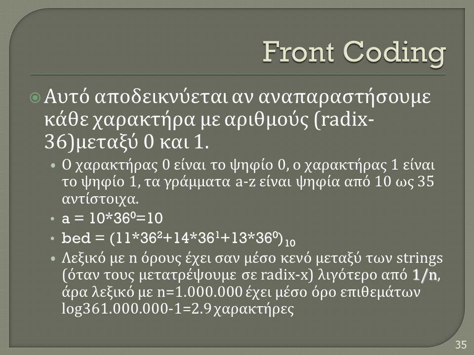  Αυτό αποδεικνύεται αν αναπαραστήσουμε κάθε χαρακτήρα με αριθμούς (radix- 36) μεταξύ 0 και 1. • Ο χαρακτήρας 0 είναι το ψηφίο 0, ο χαρακτήρας 1 είναι