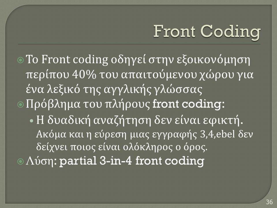  Το Front coding οδηγεί στην εξοικονόμηση περίπου 40% του απαιτούμενου χώρου για ένα λεξικό της αγγλικής γλώσσας  Πρόβλημα του πλήρους front coding: • Η δυαδική αναζήτηση δεν είναι εφικτή.