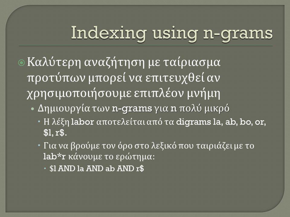 Καλύτερη αναζήτηση με ταίριασμα προτύπων μπορεί να επιτευχθεί αν χρησιμοποιήσουμε επιπλέον μνήμη n-grams για n πολύ μικρό • Δημιουργία των n-grams γ